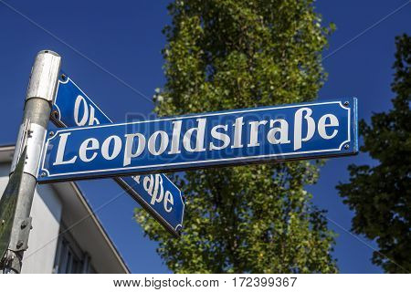 Street sign of the Leopoldstraße in Munich a famous street that leads to the Victory Gate