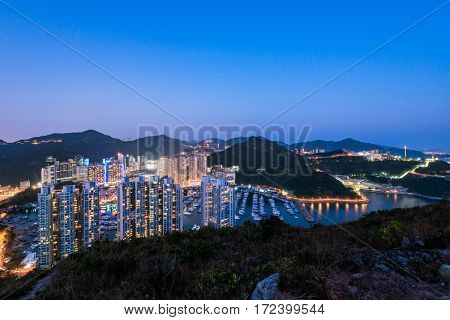 Aberdeen Typhoon Shelters View At Yuk Kwai Shan (mount Johnston) In Sunset Time