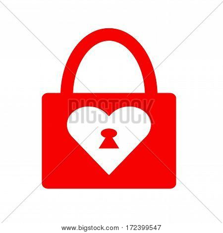Locked heart icon. Vector on white illustration.