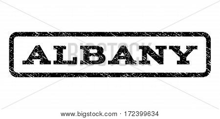Albany watermark stamp. Text caption inside rounded rectangle frame with grunge design style. Rubber seal stamp with scratched texture. Vector black ink imprint on a white background.