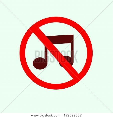 No music sign icon. Symbol vector illustration.