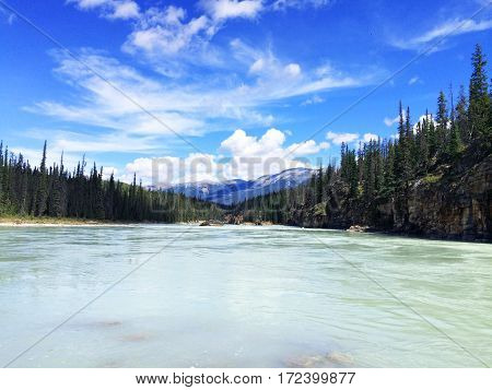 Blue lake flowing in the summer warmth of the mountains