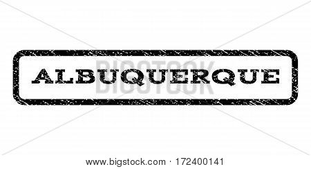 Albuquerque watermark stamp. Text caption inside rounded rectangle frame with grunge design style. Rubber seal stamp with scratched texture. Vector black ink imprint on a white background.
