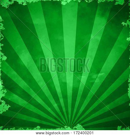 Green Grunge Background Texture With Sunburst With Gradient Mesh, Vector Illustration