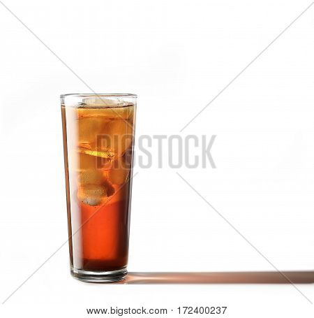 Cold glass of iced tea with ice cubes, isolated on white background with clipping path