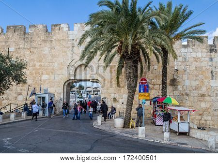 JERUSALEM ISRAEL - DECEMBER 8: The Dung Gate entrance to the Old City near the Western Wall on the Temple Mount in Jerusalem Israel on December 8 2016