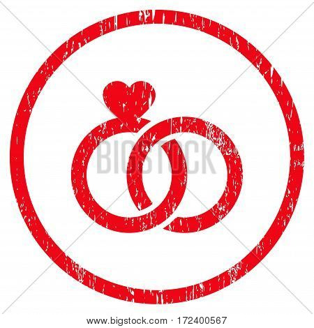 Wedding Rings grainy textured icon for overlay watermark stamps. Rounded flat vector symbol with dust texture. Circled red ink rubber seal stamp with grunge design on a white background.