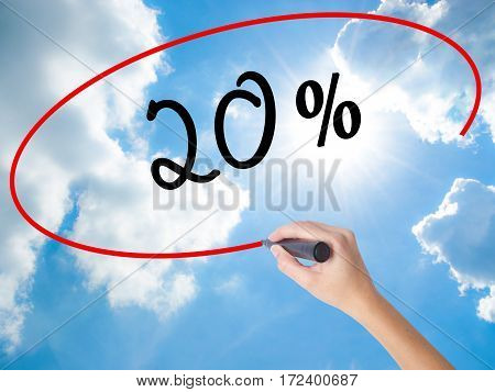 Woman Hand Writing 20% With Black Marker On Visual Screen