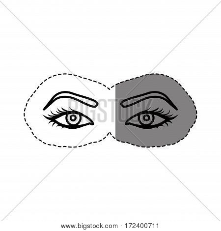 monochrome contour sticker with woman with open eyes vector illustration