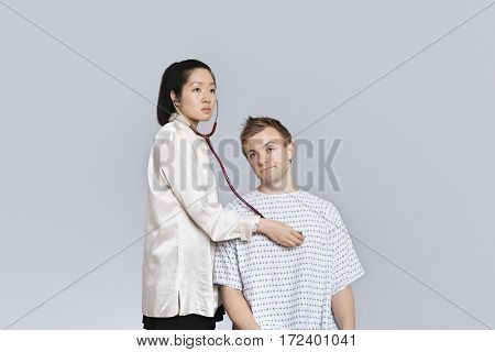 Patient being examined by the doctor