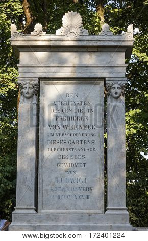 Monument in honor of Freiherr von Werneck who contributed to beautify the English Garden in Munich