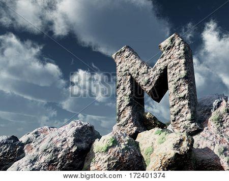 rune rock under cloudy blue sky - 3d illustration