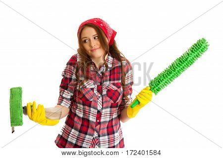 Uncertain Woman Cleaning Isolated Over White Background