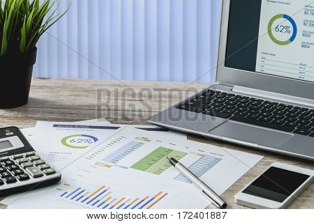 Modern workplace at the office: printouts of charts and financial data next to a laptop smartphone and calculator on the desk.