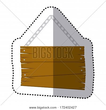 sticker old wooden sign board with chains vector illustration