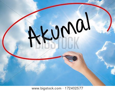 Woman Hand Writing Akumal With Black Marker On Visual Screen