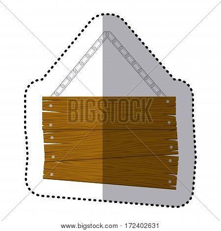 sticker hanging old wooden sign board with chains vector illustration