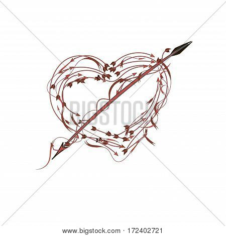A lot of arrows in shape of heart with cupid arrow, isolated on white background. Vector illustration.