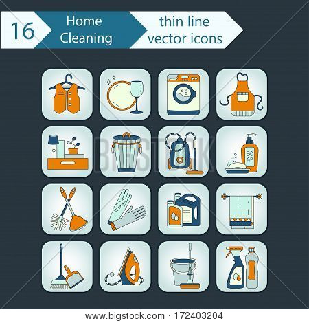 House cleaning color thin line vector icon set. For cleaning companies, laundries and dry cleaners service.