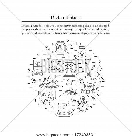 Banner or flyer template. Weight Loss, Diet card. Fitness and health collection. Thin line design. Vector pictograms