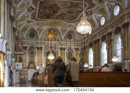 MUNICH, GERMANY - OCTOBER 31, 2015: The Buergersaalkirche (Citizen's Hall Church) is a historical building in the inner city of Munich and is the prayer and meeting room of the Marian Men Congregation