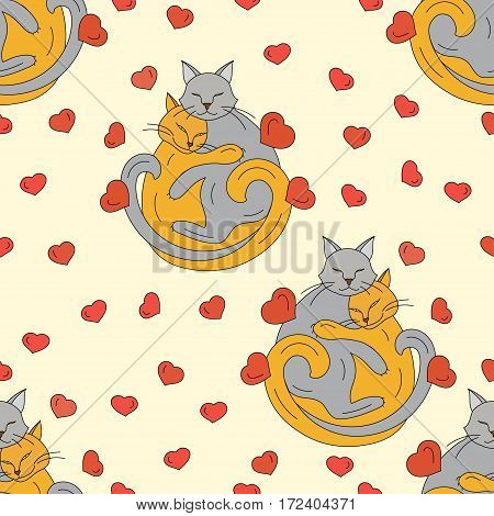 Seamless vector pattern with cats who hug each other. Love vector illustration.