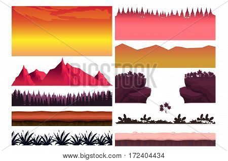 Game cartoon elements set with pieces of fantasy landscapes trees stones, Landscape creator