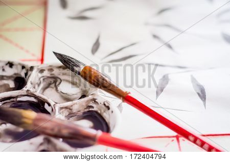 Training exercises Chinese painting Guohua, brush, ink, twigs, bamboo leaves Selective Focus