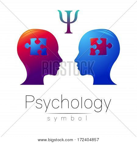Modern head sign of Psychology. Profile Human. Letter Psi. Puzzle. Creative style. Symbol in vector. Design concept. Brand company. Violet blue color isolated on white background. Icon for web.