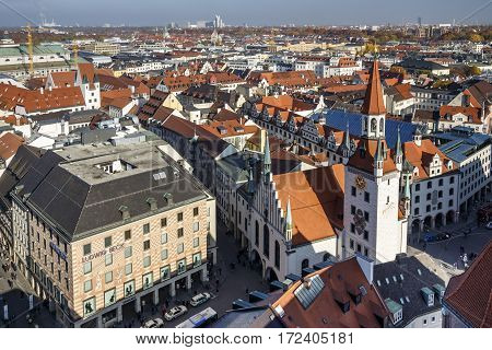MUNICH, GERMANY - OCTOBER 31, 2015: Marienplatz also called Mary's Square is one of the most vital places in Munich with the old town hall and numerous shops