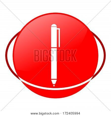 Red icon, pen vector illustration on white background