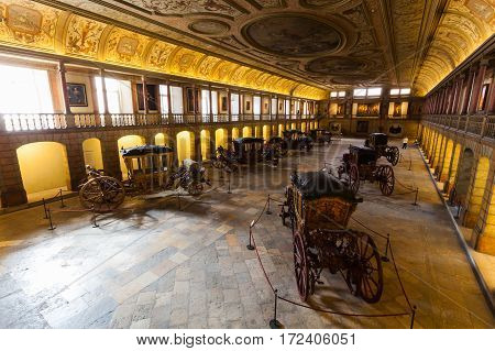 LISBON, PORTUGAL - JULY 14, 2015: National Coach Museum in Lisbon, Portugal. Exhibits of antique carriages