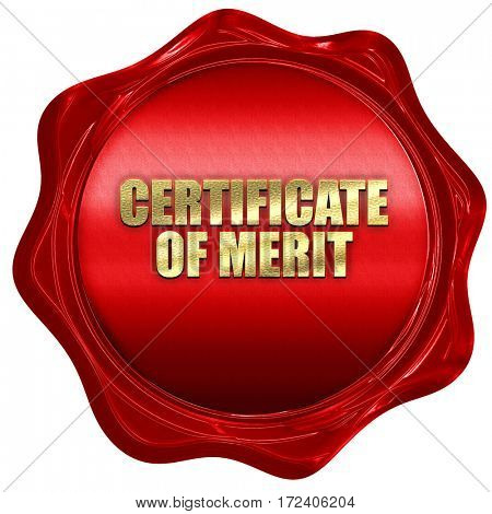 certificate of merit, 3D rendering, red wax stamp with text