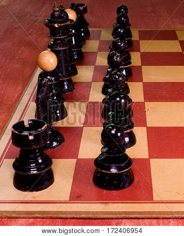 Vintage Wooden Chess Pieces. Black Pieces - Ready To Play.