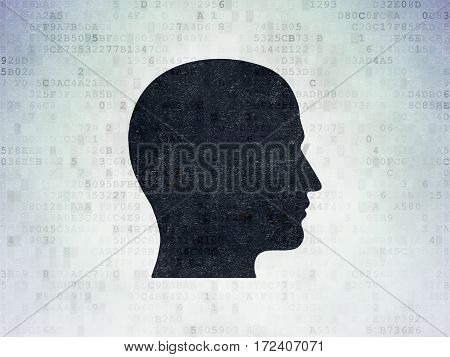 Data concept: Painted black Head icon on Digital Data Paper background