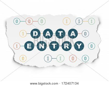 Information concept: Painted blue text Data Entry on Torn Paper background with Scheme Of Binary Code