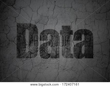 Information concept: Black Data on grunge textured concrete wall background