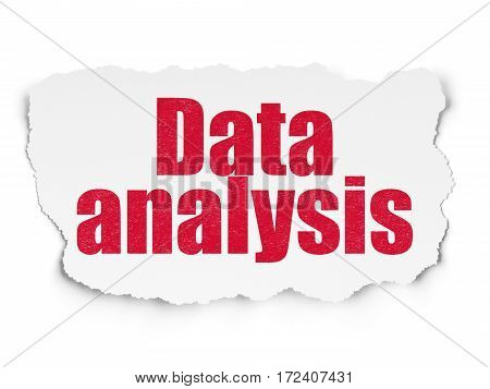 Data concept: Painted red text Data Analysis on Torn Paper background with  Tag Cloud