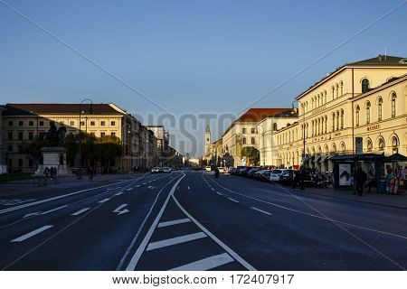 MUNICH, GERMANY - OCTOBER 31, 2015: Annast House is a building at the Odeonsplatz in Munich which is famous for the Tambosi (an Italian coffee house) and also hosts several companies