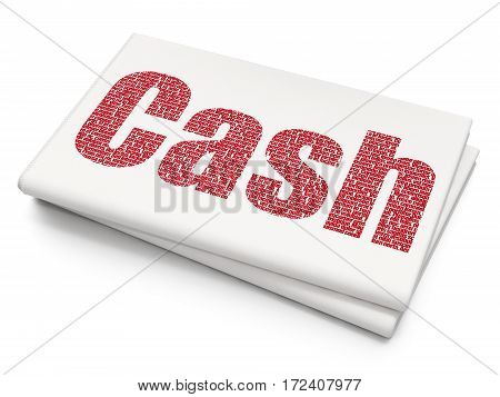 Banking concept: Pixelated red text Cash on Blank Newspaper background, 3D rendering