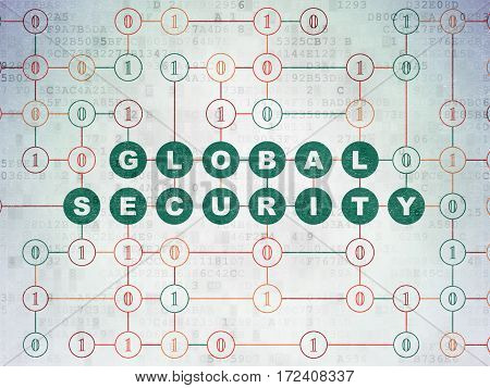 Protection concept: Painted green text Global Security on Digital Data Paper background with Binary Code