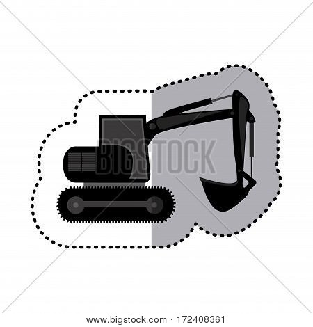 sticker monochrome backhoe with crane for construction vector illustration