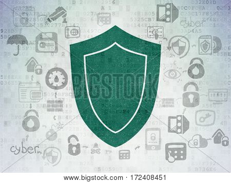 Protection concept: Painted green Shield icon on Digital Data Paper background with Scheme Of Hand Drawn Security Icons