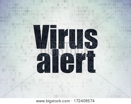 Security concept: Painted black word Virus Alert on Digital Data Paper background