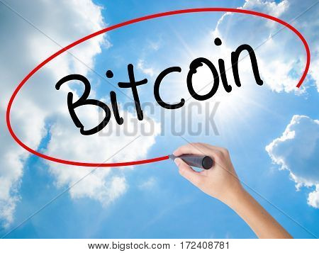 Woman Hand Writing Bitcoin With Black Marker On Visual Screen.