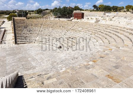Theater at the archaeological remains of Kourion city-kingdom destroyed in a severe earthquake in 365 AD.