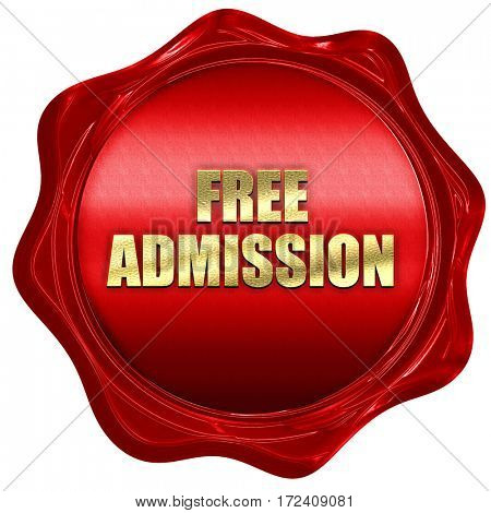 free admission, 3D rendering, red wax stamp with text