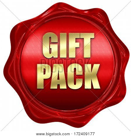 gift pack, 3D rendering, red wax stamp with text