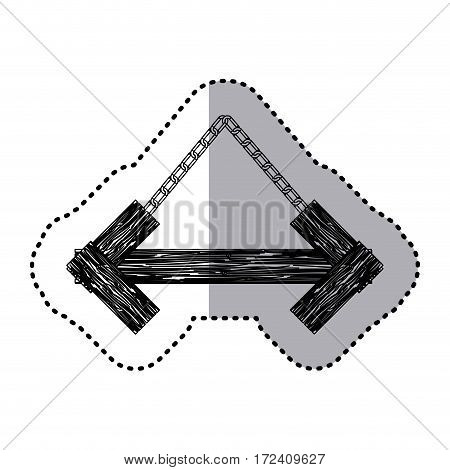 sticker monochrome arrow shape wooden sign board with chains vector illustration