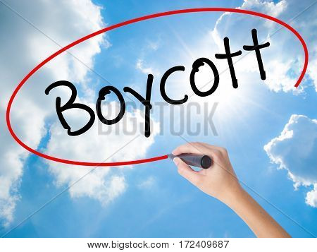 Woman Hand Writing Boycott With Black Marker On Visual Screen.